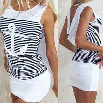Fashion Women Anchor Stripe Dress Sleeveless O-neck Hooded Sexy Mini Dresses