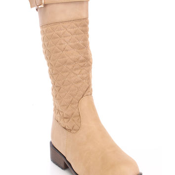 Beige Quilted Mid Calf Boots Faux Suede