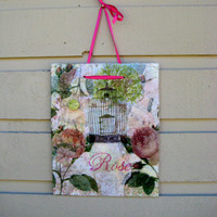 Rose Garden Magnet Board, mixed media message board with vintage sheet music and garden images, french cottage decor