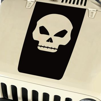 Skull Hood Blackout Vinyl Decal Sticker (13) fits: Jeep Wrangler JK TJ YJ