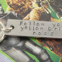Follow Your Yellow Brick Road Keychain - Wizard of Oz Keychain - Keyring Key Chain Key Ring