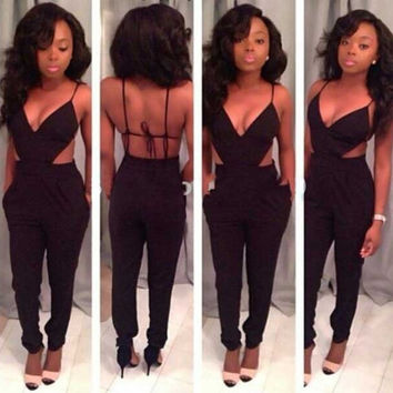 2014 New Fashion Ladies Black Strap Backless Sexy Jumpsuit Women Deep V-neck  Suspenders Rompers Pants Club Jumpsuits