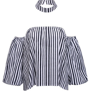 Blue Off Shoulder Stripe Print Blouse with Neck Band Detail