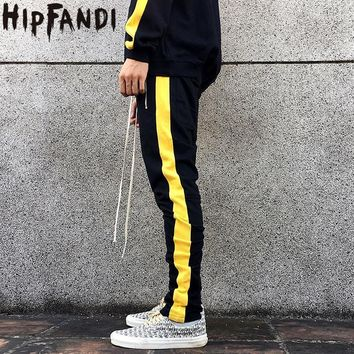 hipfandi mens zipper pocket and anke zip track pants long dawstring sweatpants fear of god side striped retro trousers man