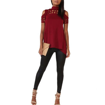 Stylish Womens Top with Cutouts and Short Sleeves, blouse