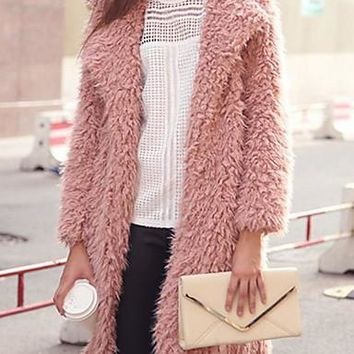 Women's Faux Fur Coat Solid with Long Sleeves