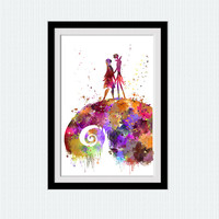 Nightmare before Christmas watercolor print Nightmare before Christmas art poster Home decoration Kids room wall art Nursery art decor W652