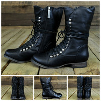 Emory Scalloped Lace Up Military Combat Boots Black