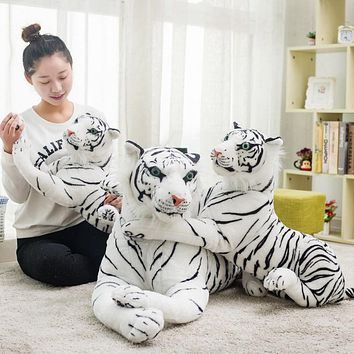 White Siberian Tiger Cat Plush Toys Stuffed Dolls Birthday Gift - 30/40/45/57/72/82CM