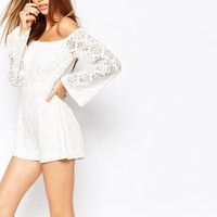 Missguided Lace Bardot Playsuit