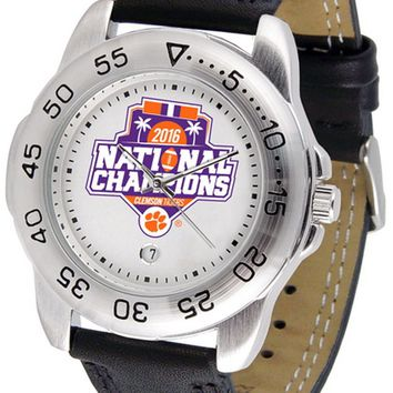 Clemson Tigers Mens 2016 Championship Watch Leather Band White Dial