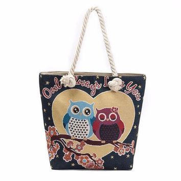 Perfect Tote! Carry Your Anything! Everyday Use When Your Purse Isn't Enough  LOVEY OWL COUPLE