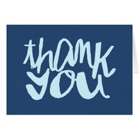 Thank You two-toned Blue hand lettered Card