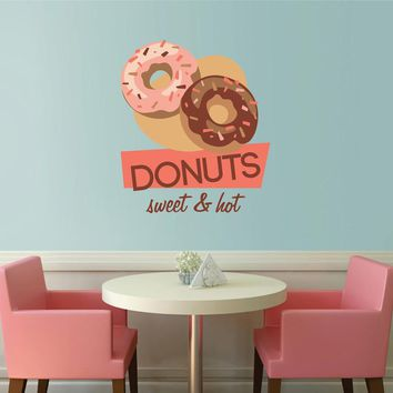 cik1111 Full Color Wall decal Vintage baked donut shop window showcase snack restaurant