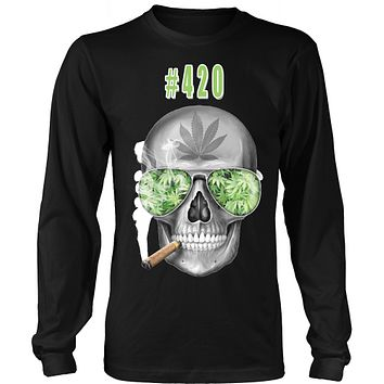 #420 Mens Longs Sleeve Weed Shirt