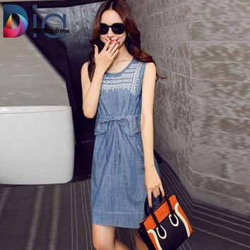 Dia  Sleeveless Denim Dress Overalls Summer O Neck Embroidery Tie Pocket Ropa Mujer 2016 Vintage Step Jeans Dresses Women