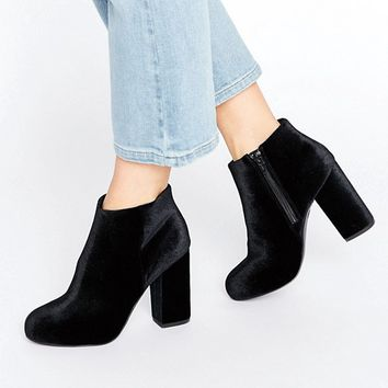 New Look Velvet Heeled Ankle Boot at asos.com