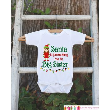 Big Sister Pregnancy Announcement Shirt - Big Sister Holiday Outfit - Big Sister Shirt - Christmas Announcement Shirt - Holiday Onepiece