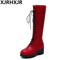 XJRHXJR Red Black White Knee High Boots Women's Shoes Fashion Cosplay Pu Leather Corss Straps Long Boots Ladies High Heels 34-43