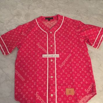 LOUIS VUITTON x SUPREME Monogram Red Denim Baseball Jersey Shirt LARGE