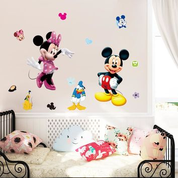 Mickey mouse cartoon wall stickers for kids room decorations movie wall art removable pvc comic animal decals zooyoo1437