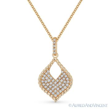 0.22ct Round Cut Diamond Pave Marquise Pendant & Chain Necklace in 14k Rose Gold
