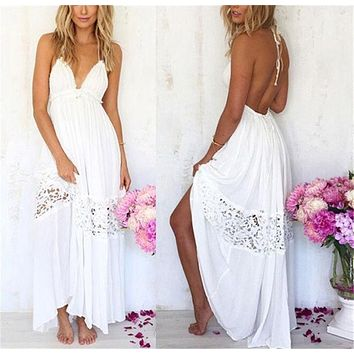 LMFHQ9 Sexy Women Maxi Long Lace Cocktail Evening Summer Beach Backless Ball Gown Dress