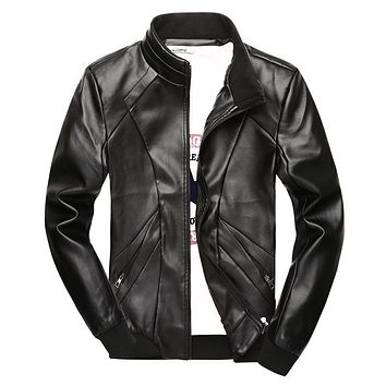 Men's PU Leather Jacket Men Windproof Motorcycle Jacket Coats Casual