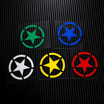 NO.LS001 Five-point star Military Reflective Safe Caution 3M Car Stickers Decals Motorcycle MOTO GP Motocross Helmet Windshield