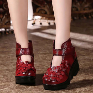 Literary Women Wedge Boots Platform Genuine Leather Flower Vintage Chinese National Shoes Ethnic Handmade Booties Appliques