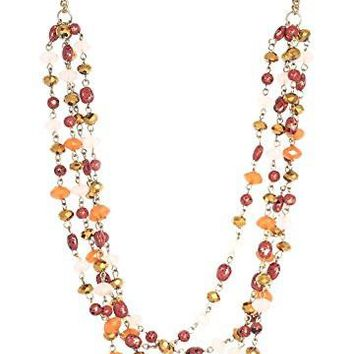 Long Multi-Strand Faceted Amber-colored Beaded Layered Necklace