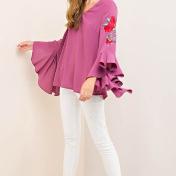 Floral Embroidery with Dramatic Ruffle Sleeve Blouse Top