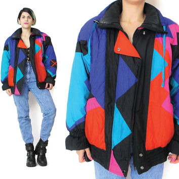 1980s Neon Ski Jacket Quilted Puffy Jacket Warm Winter Jacket Color Block Zip Up Bright Ski Jacket Snow Snowboarding Womens Outerwear (M/L)