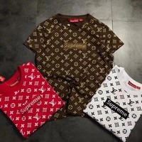 """Supreme x Louis Vuitton"" Unisex Casual Fashion Print Box Logo Embroidery Letter Short Sleeve Couple T-shirt Top Tee"