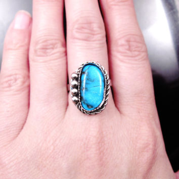 Kingman Turquoise Ring, Sterling Silver Turquoise Ring, Genuine Turquoise Jewelry, Gypsy Ring, December Birthstone Gift, Southwestern Ring