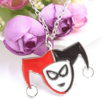 ICIKHY9 Hot Sales Batman Necklace Harley Quinn Clown Jack Lovely Pendant Silver Plated Necklace Fashion Gift Movie Jewelry