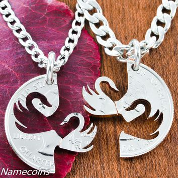 Interlocking Swan Pendants, Couples Necklaces by Namecoins