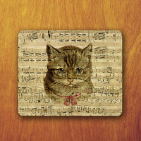 Cat Funny Painting Mouse Pad Old Note Piano Pattern Art Music Vintage Mousepad Vintage Office Desk Decoration Gift Teacher Gift