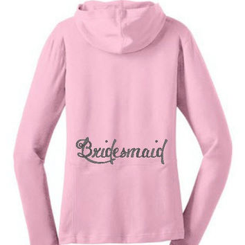 Monogrammed Bridesmaid Hoodie Jacket - Wedding Party Personalized Hoodie - Plus Size Bride - Small-4XL - 4 Colors Embroidered Wedding Jacket