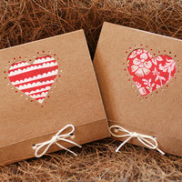 Notebooks - Set of Two Mini Kraft Love Heart Theme - Handcut and Hand Bound