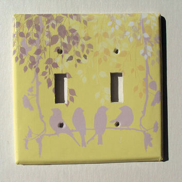 Oversized Double Light Switch Cover Birds Swinging Yellow Gray