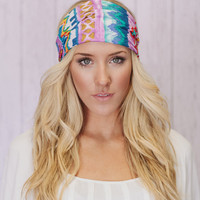 Boho Headband Wide Turban Aztec Head Covering in Lavender Teal