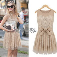 Women/Ladys New Fashion Beige Lace Sleeveless Multi-Layer Skirt Elegant Dress