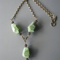 Large Green Opal Y Necklace, Brass Chain Drop Bead Necklace, Chunky Stone Jewelry