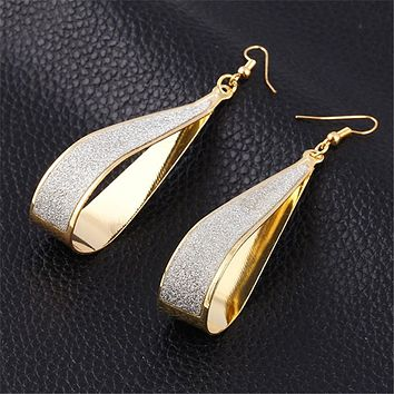 2016 Hot Selling Earings Fashion Jewelry Korean Trend  Rock Club Frosted Water Drop Earrings Jewelry Wedding Earrings