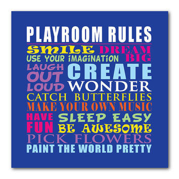Typography Art Print - Playroom Rules - Word Art - Family Wall Art - Nursery Art - Kid's Room - Inspiration - Kids Art - Playroom Art