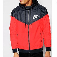 Nike Red Casual Hooded Windbreaker Jacket Fashion Men Women Coat