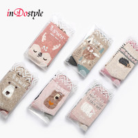 inDostyle 2 pairs of Breathable sweet cartoon animal cotton socks fox cat bear Hedgehog sock Women cute kawaii Socks M3621
