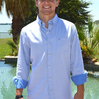 Southern Tide Gun Deck Solid Sport Shirt- Royal Blue