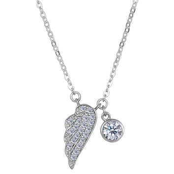 """Sterling Silver CZ Angel Wing Charm Pendant Necklace, 18"""""""